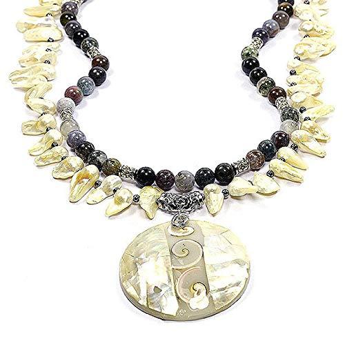Madre de perla Natural de, ojo de Shiva, ágata India y perla blíster 48,26 cm hecha a mano de la joyería collar de la declaración de Tokio tántrico