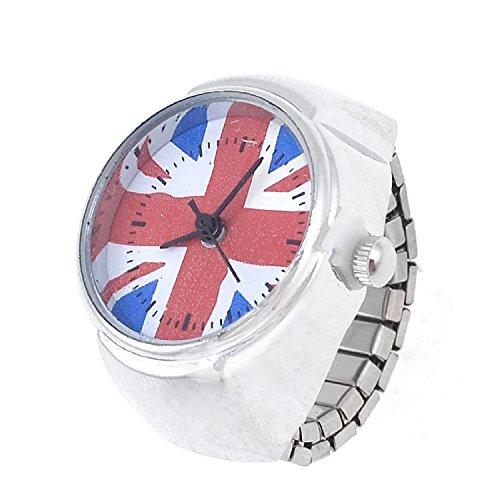 Anillo de dedo Stretch Band Ronda de Caja de la bandera del Reino Unido Watch UK J medio para Lady