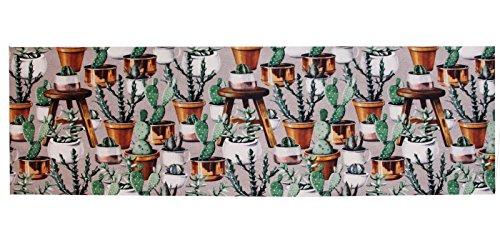 PERLARARA - Passatoia Cucina PVC Lavabile e Antiscivolo, Tappeto a Metraggio Lavabile in Lavatrice, Fantasia Cactus 101, Misura Personalizzabile (1 quantità = 10 cm)