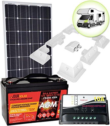 Kit Pannello Solare Camper 100W 12V Mono con Batteria 100Ah Regolatore 10A Supporto di fissaggio