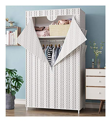 RSBCSHI Wardrobe Portable Closet Hanging Organizer Dormitory Small Room Fabric Assembly Cabinet Folding Single Storage T-Shaped Opening and Closing (Color : White)