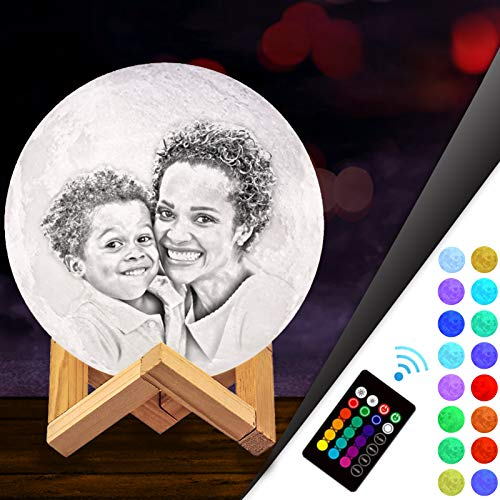 3D Moon Lamp Personalised Photo,Custom Moon Light Lamp Customised with Picture Engraved with Stand,16 Colors,Personalised Gifts for Mother's Father's Day 2020