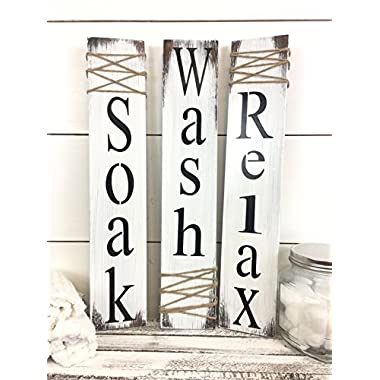 Rustic Bathroom Signs, White Bathroom Signs, Set of three bathroom signs, Rustic Bathroom Decor, Wash Relax Soak