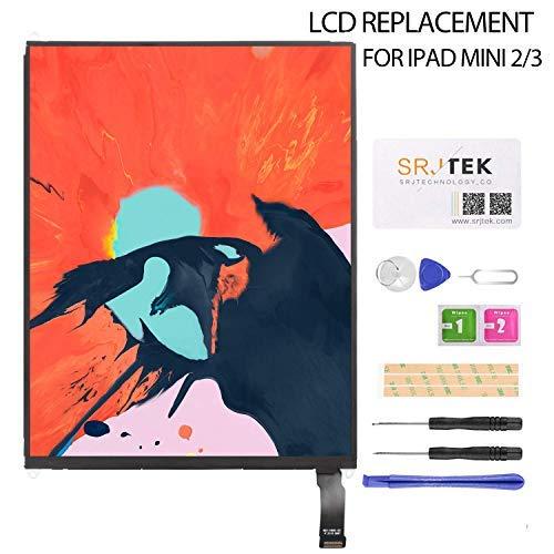 SRJTEK LCD-Bildschirm Ersatz für IPad Mini 2 3 A1489 A1490 A1491 A1599 A1560 Reparatursatz für LCD-Panels, inklusive gehärtetem Glas, 6 Monate Garantie