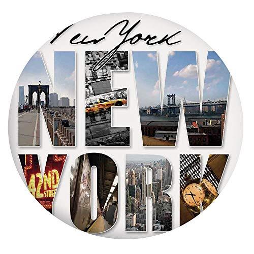 Mantel ajustable de poliéster con bordes elásticos, collage temático de la ciudad de Nueva York con diferentes áreas de Manhattan, se adapta a mesas redondas de 56 a 60 pulgadas, para comedor o cocina