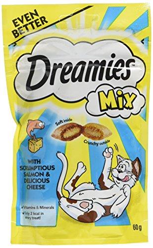 DREAMIES Katzen-Leckereien mit Lachs und Käse mischen 60g(8er Pack)