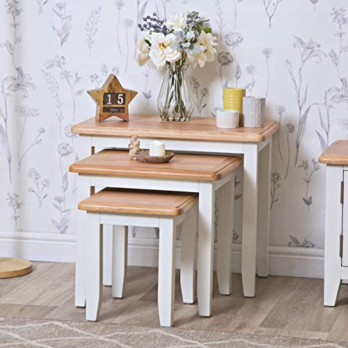 The Furniture Outlet Gloucester White Painted Oak Nest of 3 Tables