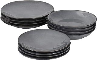 ProCook Malmo - Service de Table en Grès - 12 Pièces/4 Personnes - - Grande Assiette Plate/Assiette à Dessert/Assiette Cre...