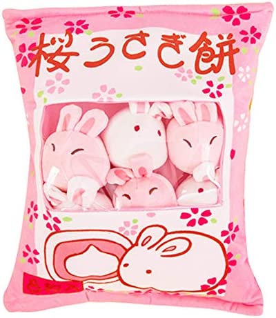 Cute Bag of Cherry Blossom Bunnies Plush Toy Soft Throw Pillow Stuffed Animal Toys Creative product image