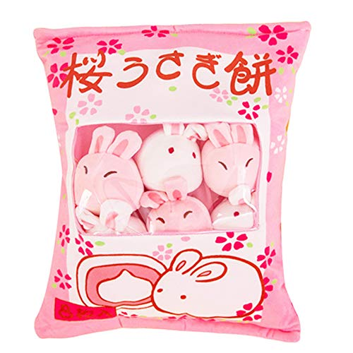 Cute Bag of Cherry Blossom Bunnies Plush Toy Soft Throw Pillow Stuffed Animal Toys Creative Gifts Room Decor