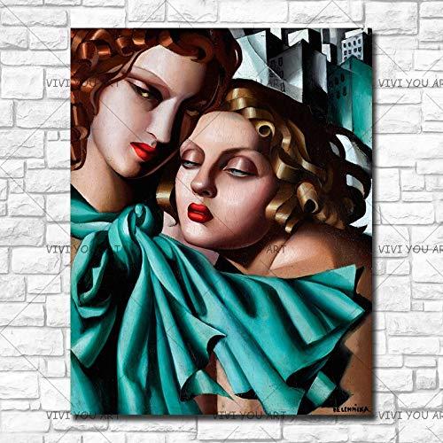 wZUN Mujer Abstracta Pintura al óleo Figura de niña sobre Lienzo Cuadro de Arte de Pared para Sala de Estar decoración del hogar 60x90 Sin Marco