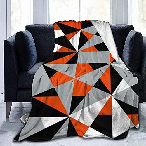 Ultra Soft Micro Fleece Durable Geometric Bold Retro Funky Orange Black White Throw Blankets Soft Warm Blanket Sheet for Bed Bedding Sofa Office Living Room Home Decor-50*60in