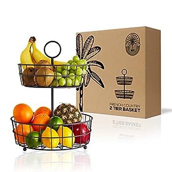 2 Tier Fruit Basket – Regal Trunk & Co Wire Fruit Bowl or Produce Holder | Two Tier Fruit Basket Stand for Storing & Organizing Vegetables Eggs etc | Fruit Basket for Counter or Hanging  2 Tier