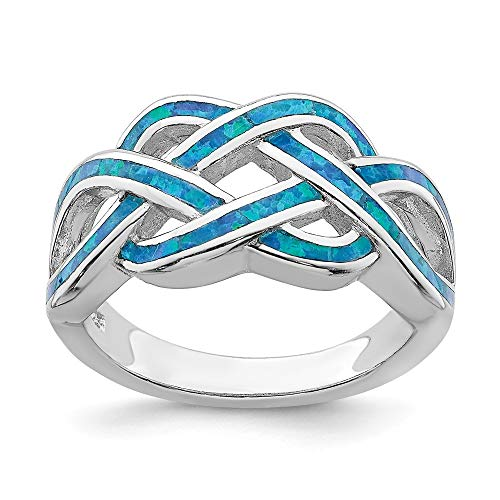 925 Sterling Silver Blue Inlay Created Opal Knot Band Ring Size 7.00 Claddagh Celtic Fine Jewelry For Women Gifts For Her
