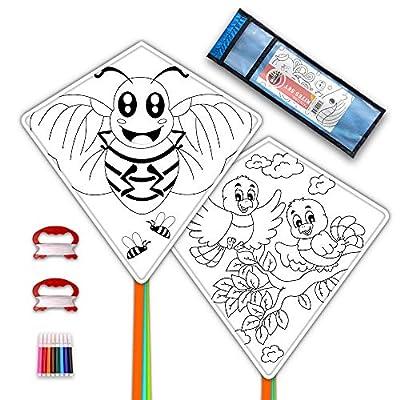 Mint's Colorful Life DIY Kites for Kids Kite Making Kit Bulk, Decorating Coloring Kite Party Pack,White Diamond Kite Kits