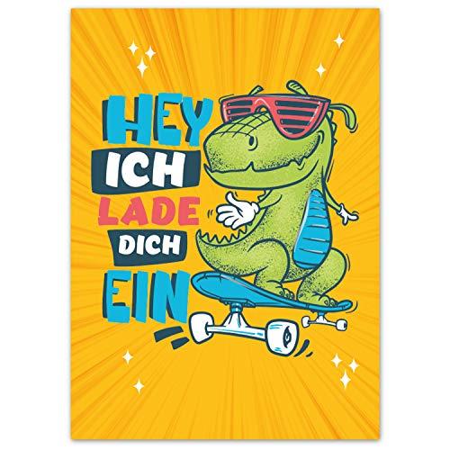 Pandawal 12x Einladungskarten Kindergeburtstag Dino Junge und Mädchen mit coolem Dinosaurier auf Skateboard Motiv perfekte Einladung für Geburtstag Ausflug Kinderparty