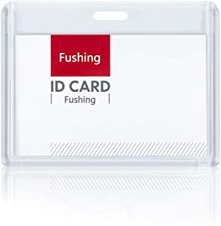 Fushing 6 Pack Heavy Duty ID Card Holders Double-Sided Clear Acrylic Crystal Badge Holder, Name Tag Holder for Student Emp...
