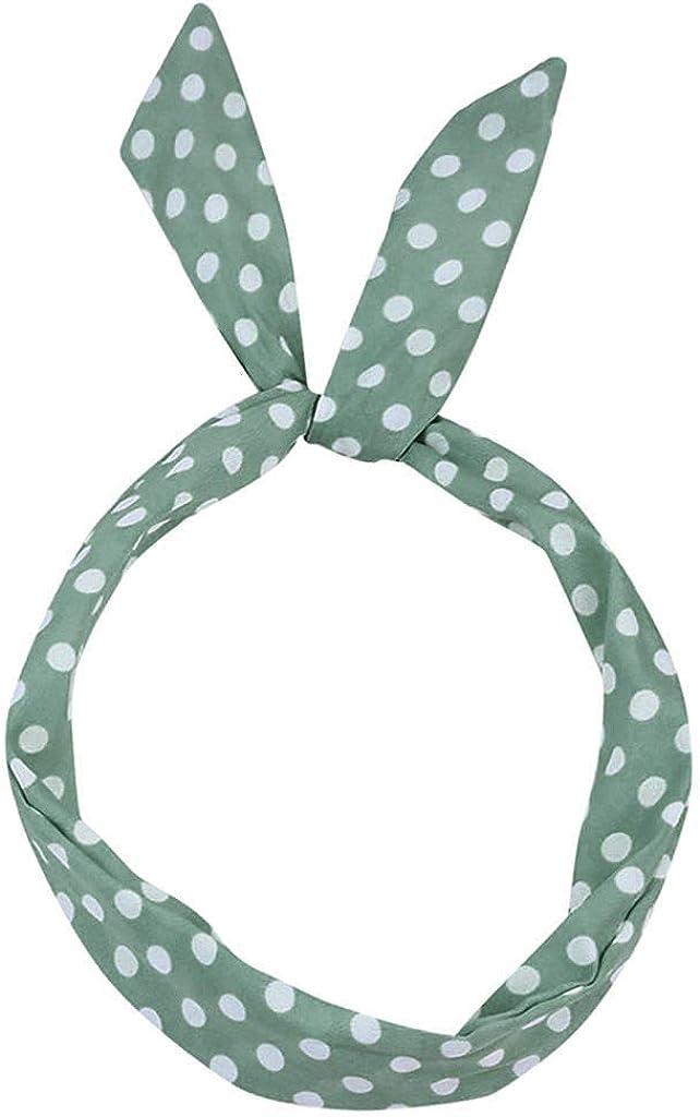 BCDshop Women Girl Paisley Rockabilly Headband Polka Dot Retro Wire Hair Band Headwraps Scarf