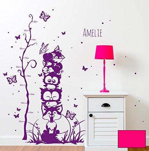 ilka parey wandtattoo-welt Sticker Mural Sticker Mural Arbre Chouettes Renards grimpantes Toise pour Enfant avec nom m1732