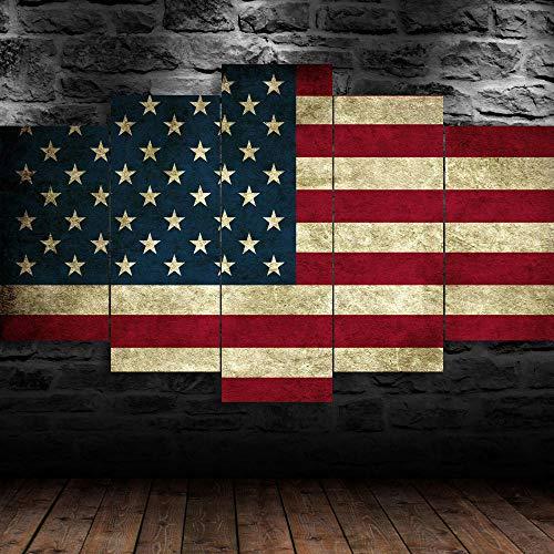AWER Cuadro En Lienzo Decoracion 5 Piezas Bandera de Estados Unidos Estados Unidos Arte Pared Alta Definición Pintura Decorativa Home Dormitorio Óleo Lona Pintura Mural Regalos(Enmarcado)