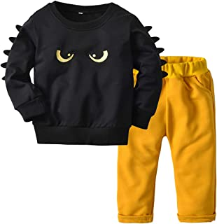 Top and Top Infant Toddler Boys Monster Printed Cotton Sweatshirts Pants Clothes Set Outfit