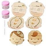 Pengxiaomei Boîte de rangement pour dents de bébé, boîte à dents de lait en bois, boîte à souvenir pour bébé et enfant