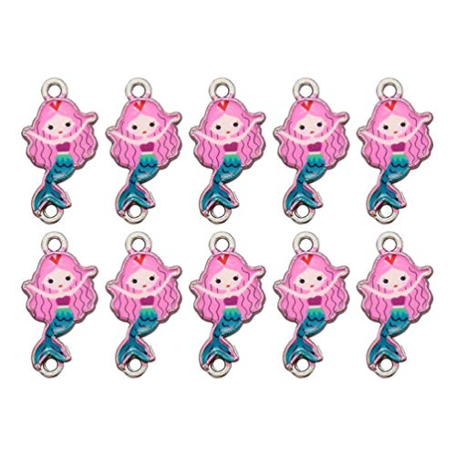 Artibetter 10pcs Alloy Charms Pendant Mermaid Girl Pendants Dangle Charms Connectors DIY Jewelry Making Accessory (Pink )