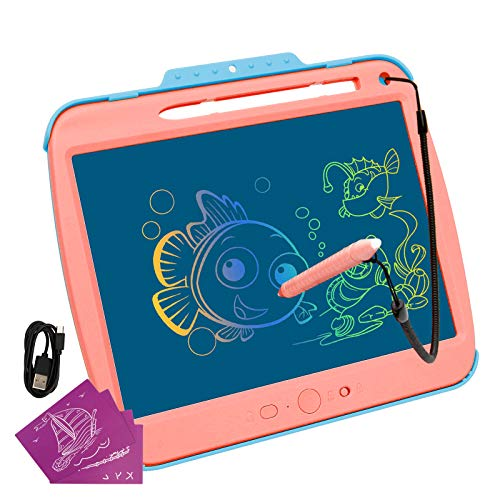 LCD Writing Tablet for Kids, 9-Inch Colorful Screen Doodle Board, Electronic Digital Drawing Tablet with Lock Function Erasable and USB Rechargeable, Educational Toy for Boys and Girls (Pink)