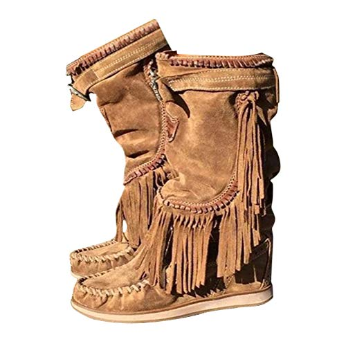 Minetom Damen Stiefeletten Westernstiefel Niedrige Absätze Fransenstiefel Plateau Ankle Boots Knöchelstiefel Winter Schlupfstiefel Elegant Schuhe B Braun 40 EU