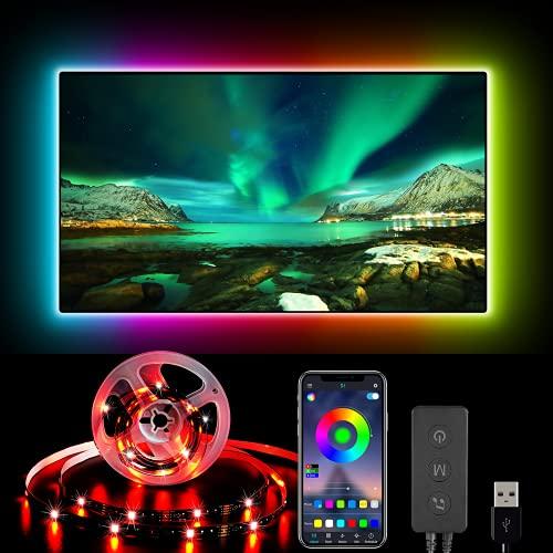 Retroilluminazione 4M TV,TV Striscia LED ad USB con APP Controllo, LED Monitor 28 Modalità 16 Milioni Colori Bluetooth Retroilluminazione LED TV,Striscia LED RGB per HDTV da 32-75 Pollici,PC Monitor