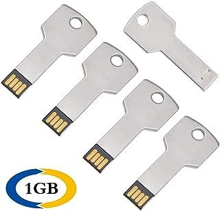 5 Unidades 1 GB Memoria USB 2.0 Metal Pendrive Llave Plata Memorias Flash Drive Creativo U Disco Divertida USB Stick Almacenamiento Externo Regalo by Uflatek