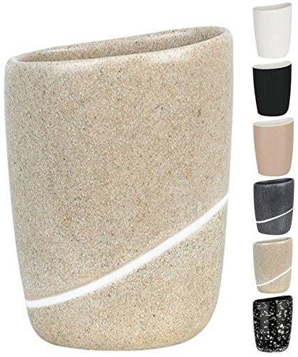 Spirella Zahnputzbecher Zahnbürstenhalter Etna 9x7x12,5 cm Steinoptik - Sand