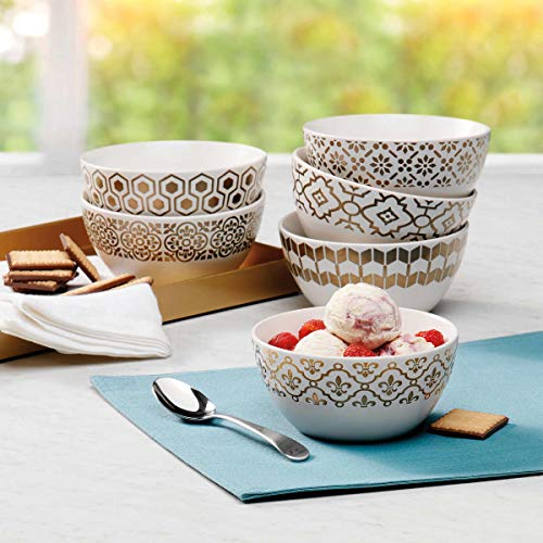 Mikasa Celebration Stoneware Bowls 6 Piece Set Microwave and Dishwasher Safe for, Soups, Chili and Stews