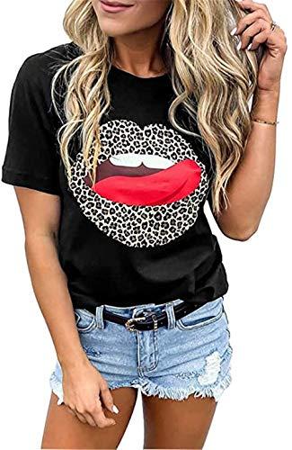 NOBRAND - Camiseta de manga corta con cuello redondo, diseño de labios rojos y labios rojos Negro Negro ( XXL