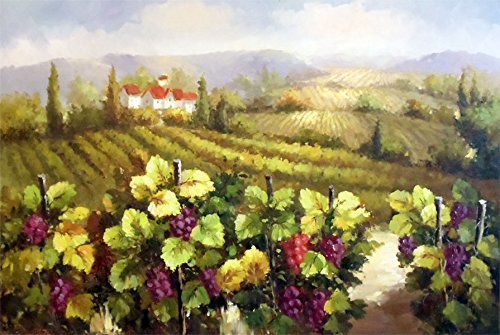 100% Hand Painted Oil Painting on Canvas Wall Art, Tuscany Vineyard Wine Napa Sonoma Paris France Venice Italy Cafe Oil Painting Reproduction