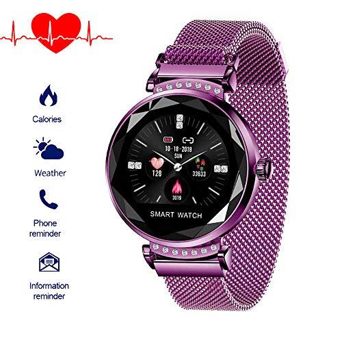 Fitnessuhr mit Blutdruckmessung FüR Damen Intelligente Uhr Wasserdicht Pulsuhren Fitness Tracker Smartwatch Bluetooth,1.04Zoll Touchscreen,Elegant,Gut Bedienbare,TäGlichen Leben (Lila)