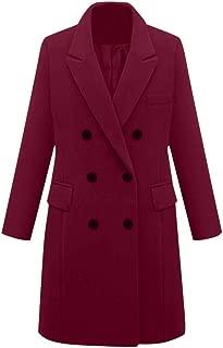 LEXUPA Women's Basic Designed Notch Lapel Double Breasted Wool Pea Coat Winter Lapel Trench Jacket Long Overcoat Outwear