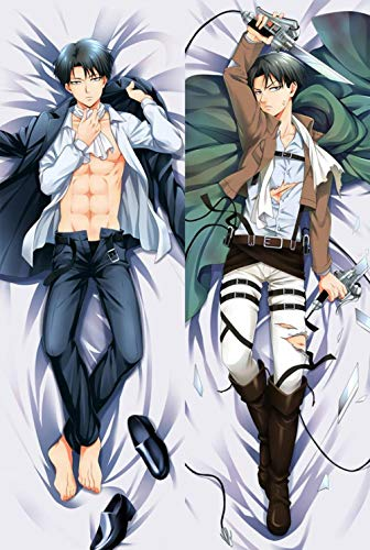Dennieke Hot Japanese Anime Attack On Titan Male Levi Eren Yeager Cute Hugging Body Pillow Case Cover Dakimakura Zierkissenbezüge Cover Kissenbezüge BL 160x50cm Peach Skin
