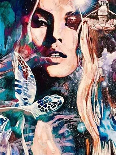 Pintura de diamantes mujer taladro completo 5D DIY diamante bordado retrato diamantes de imitación punto de cruz decoraciones para el hogar A8 50x70cm