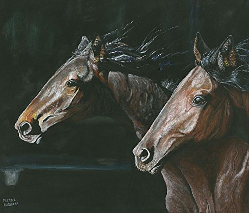 AFDRUKKEN-op-GEROLDE-CANVAS-Geweldige-bruine-paarden-op-hol-Pretelli-Eleonora-Dieren-Afbeelding-gedruckt-op-canvas-100%-katoen-Opgerolde-canvas-print-Kunst-Afmeting-99_X_116_cm
