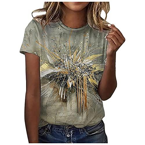 Damen T-Shirt O-Ausschnitte Sommer Kurzarm Blusen Rundhals Loose Mode Shirt Drucken Casual Top mit Tasche