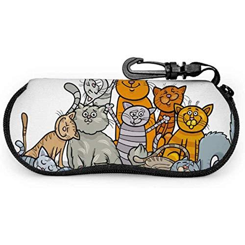 Eine große gruppe von niedlichen cartoon katzen multi sonnenbrille fall reisetasche gläser tragbaren reißverschluss weicher fall reisetasche gläser