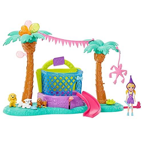 Polly Pocket Parque Temático de Mascotas Juguetes para niñas de 4 años en adelante con Accesorios temáticos de Fiesta de cumpleaños