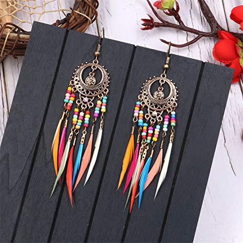 Kissherely Boucles d'oreilles de plumes de Bohême exquises perles ethniques colorées boucles d'oreilles à long goutte fantaisie (or)