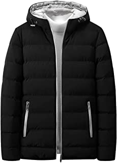 LONGDAYWinter Parka Anorak JacketMen's Water-Resistant Hooded Thickened Insulated Quilted Puffer Coat Heavy Padded