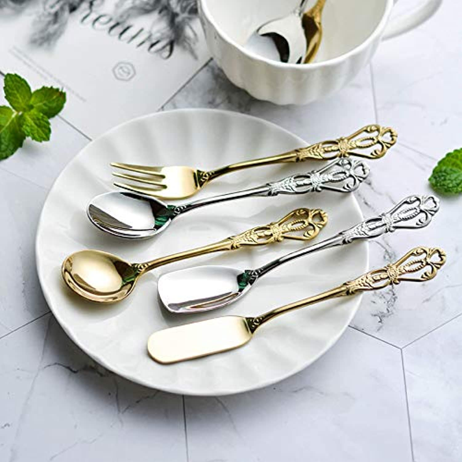 5pcs 304 Stainless Steel Vintage Spoon for Coffee Tea Dessert Spoons Set Hollow Handle gold Cutlery Small Spoon Fork Christmas   Silver 5style