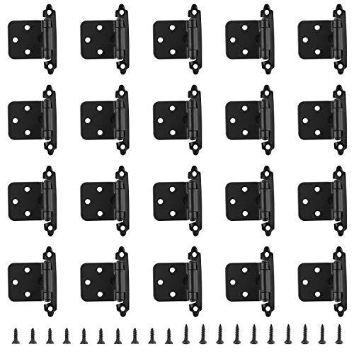 HSEAMALL 10 Paar selbstschließende Schrankscharniere, Küchenschranktürscharniere mit Schrauben für Heimmöbel, schwarz