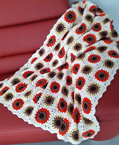 Patchwork Decke 110x220, XXL, Tagesdecke, Plaid, gehäkelt, Granny Square, Handarbeit, Vintage Look
