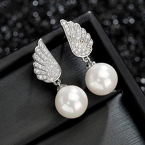 yuge Pendientes de perlas de plata esterlina 925 para mujer, pendientes de perlas clásicos de la boda de las señoras de la manera de los regalos Color1