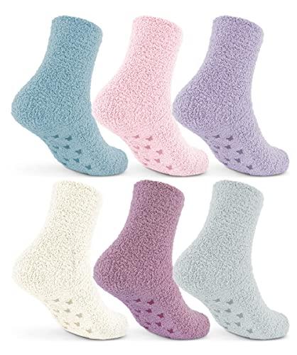 6   12 Paar Damen Kuschelsocken mit ABS Anti Rutsch Sohle Pastellfarben 37417 (35-42 6 Paar)